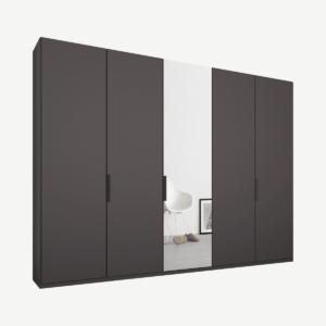 Caren vijfdeurs kledingkast met handvatten, 250 cm, grafietgrijs frame, mat grafietgrijs en spiegeldeuren, premium interieur