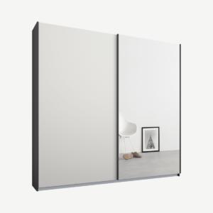Malix tweedeurs kledingkast met schuifdeuren, 181 cm, grafietgrijs frame, matwit en spiegeldeuren, klassiek interieur