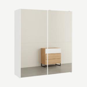 Elso garderobekast met schuifdeuren, 180cm, wit frame met spiegeldeuren