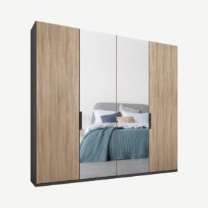 Caren Malix kledingkast met 4 deuren, 200 cm, grafietgrijs frame, eiken en spiegeldeuren, standaard
