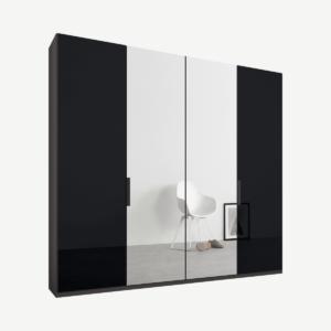 Caren vierdeurs kledingkast met handvatten, 200 cm, grafietgrijs frame, basaltgrijs glas en spiegeldeuren, premium interieur