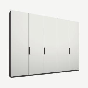 Caren Malix kledingkast met 5 deuren, 250 cm, grafietgrijs frame, matte, witte deuren, standaard