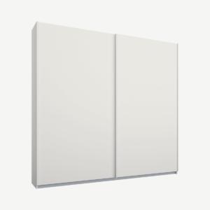 Malix tweedeurs kledingkast met schuifdeuren, 181 cm, wit frame, matwitte deuren, premium interieur