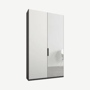 Caren tweedeurs kledingkast met handvatten, 100 cm, grafietgrijs frame, matwit en spiegeldeuren, standaard interieur