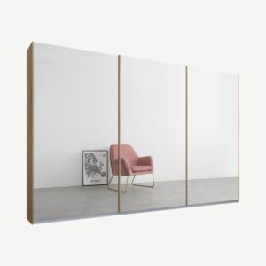 Malix kledingkast met 3 schuifdeuren, 270 cm eiken frame, spiegeldeuren, standaard binnenkant
