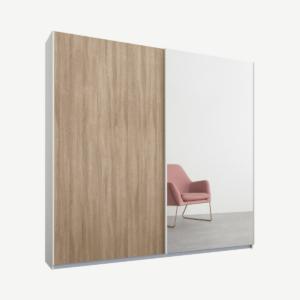 Malix tweedeurs kledingkast met schuifdeuren, 181 cm, wit frame, eiken en spiegeldeuren, premium interieur