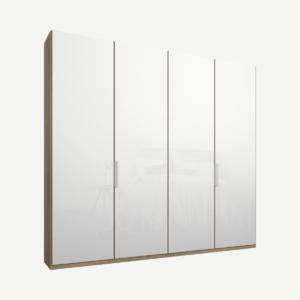Caren Malix kledingkast met 4 deuren, 200 cm, eiken frame, witte, glazen deuren, standaard