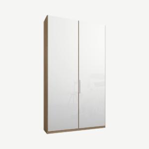 Caren tweedeurs kledingkast met handvatten, 100 cm, eiken frame, witte glazen deuren, standaard interieur