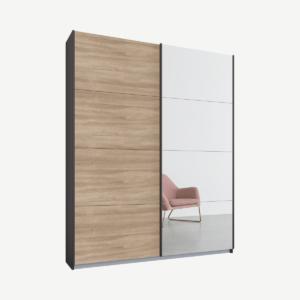 Malix tweedeurs kledingkast met schuifdeuren, 135 cm, grafietgrijs frame, eiken en spiegeldeuren, standaard interieur