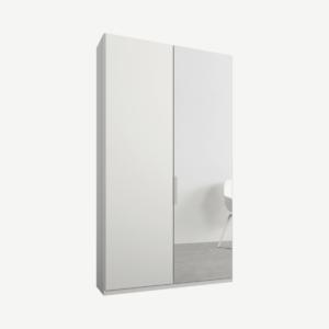 Caren tweedeurs kledingkast met handvatten, 100 cm, wit frame, matwit en spiegeldeuren, klassiek interieur