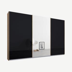 Malix kledingkast met 3 schuifdeuren, 270 cm eiken frame, basaltgrijs glas en spiegels, standaard binnenkant