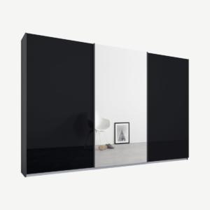 Malix kledingkast met 3 schuifdeuren, 270 cm grafietgrijs frame, basaltgrijs glas en spiegels, standaard binnenkant