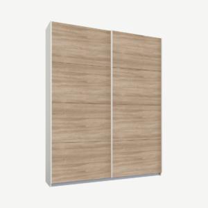 Malix tweedeurs kledingkast met schuifdeuren, 135 cm, wit frame, eiken deuren, klassiek interieur