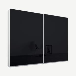 Malix kledingkast met 2 schuifdeuren, 225 cm, wit frame, basaltgrijs glazen deuren, standaard binnenkant