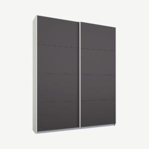 Malix tweedeurs kledingkast met schuifdeuren, 135 cm, wit frame, mat grafietgrijze deuren, premium interieur