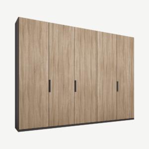 Caren vijfdeurs kledingkast met handvatten, 250 cm, grafietgrijs frame, eiken deuren, premium interieur