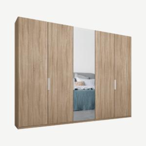 Caren vijfdeurs kledingkast met handvatten, 250 cm, eiken frame, eiken en spiegeldeuren, premium interieur