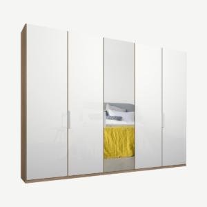 Caren vijfdeurs kledingkast met handvatten, 250 cm, eiken frame, wit glas en spiegeldeuren, klassiek interieur