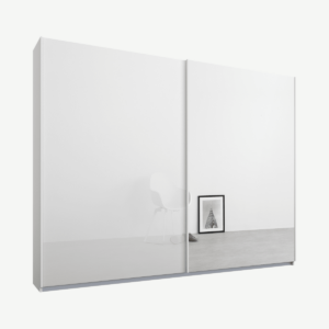 Malix tweedeurs kledingkast met schuifdeuren, 225 cm, wit frame, wit glas en spiegeldeuren, premium interieur