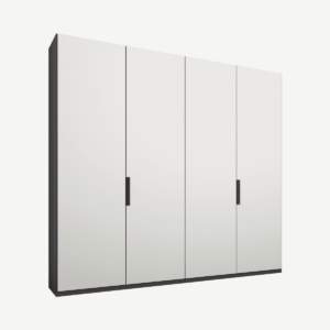 Caren Malix kledingkast met 4 deuren, 200 cm, grafietgrijs frame, matte, witte deuren, standaard