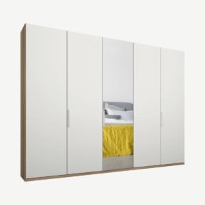 Caren Malix kledingkast met 5 deuren, 250 cm, eiken frame, mat wit en spiegeldeuren, standaard