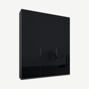Caren driedeurs kledingkast met handvatten, 150 cm, grafietgrijs frame, basaltgrijze glazen deuren, premium interieur