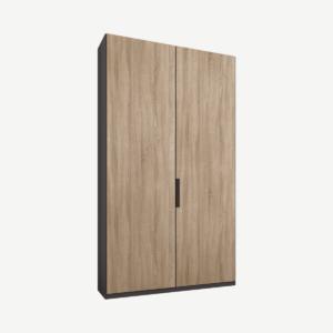 Caren tweedeurs kledingkast met handvatten, 100 cm, grafietgrijs frame, eiken deuren, standaard interieur