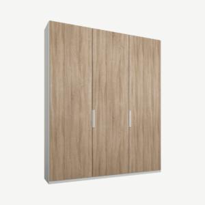 Caren driedeurs kledingkast met handvatten, 150 cm, wit frame, eiken deuren, klassiek interieur