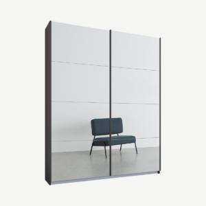 Malix tweedeurs kledingkast met schuifdeuren, 135 cm, grafietgrijs frame, spiegeldeuren, standaard interieur