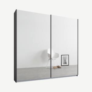 Malix tweedeurs kledingkast met schuifdeuren, 181 cm, grafietgrijs frame, spiegeldeuren, standaard interieur
