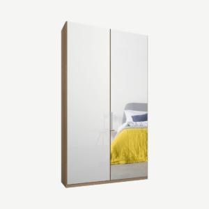 Caren tweedeurs kledingkast met handvatten, 100 cm, eiken frame, wit glas en spiegeldeuren, premium interieur