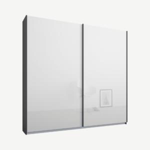 Malix tweedeurs kledingkast met schuifdeuren, 181 cm, grafietgrijs frame, witte glazen deuren, standaard interieur