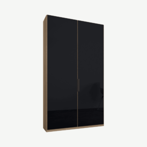 Caren tweedeurs kledingkast met handvatten, 100 cm, eiken frame, basaltgrijze glazen deuren, standaard interieur