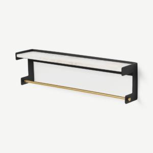 Turaco handdoekrails met plank, marmer en matzwart