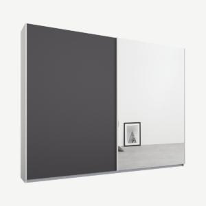 Malix tweedeurs kledingkast met schuifdeuren, 225 cm, wit frame, mat grafietgrijs en spiegeldeuren, klassiek interieur