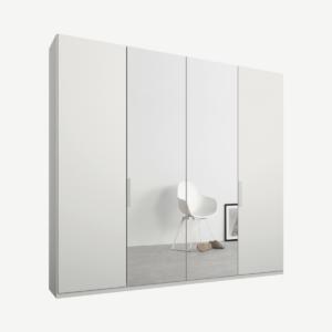 Caren vierdeurs kledingkast met handvatten, 200 cm, wit frame, matwit en spiegeldeuren, premium interieur