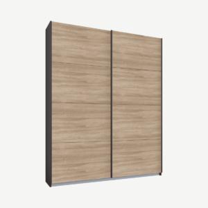Malix tweedeurs kledingkast met schuifdeuren, 135 cm, grafietgrijs frame, eiken deuren, premium interieur