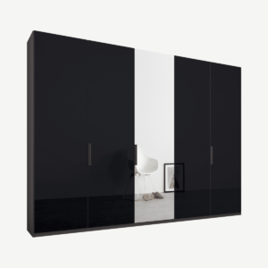 Caren Malix kledingkast met 5 deuren, 250 cm, grafietgrijs frame, basaltgrijs glas en spiegels, standaard