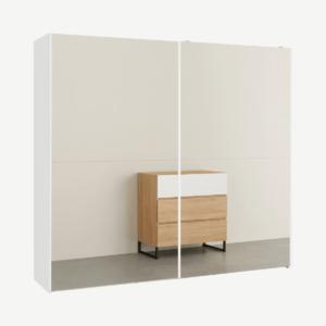 Elso garderobekast met schuifdeuren, 240cm, wit frame met spiegeldeuren