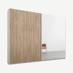 Malix kledingkast met 2 schuifdeuren, 225 cm, wit frame, eiken en spiegeldeuren, standaard binnenkant