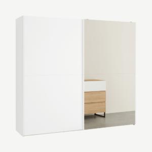 Elso garderobekast met schuifdeuren, 240cm, wit frame en spiegeldeuren