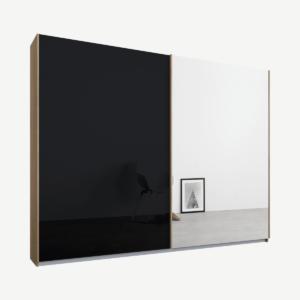 Malix tweedeurs kledingkast met schuifdeuren, 225 cm, eiken frame, basaltgrijs glas en spiegeldeuren, premium interieur