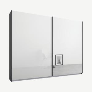 Malix kledingkast met 2 schuifdeuren, 225 cm, grafietgrijs frame, wit glas en spiegeldeuren, standaard binnenkant
