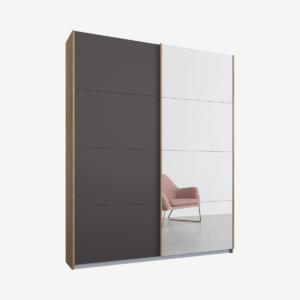 Malix tweedeurs kledingkast met schuifdeuren, 135 cm, eiken frame, mat grafietgrijs en spiegeldeuren, standaard interieur