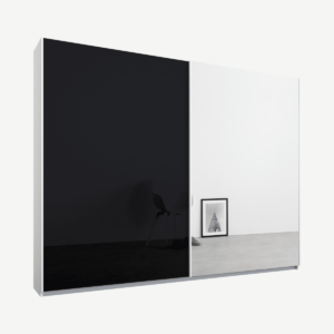 Malix kledingkast met 2 schuifdeuren, 225 cm, wit frame, basaltgrijs glas en spiegels, standaard binnenkant