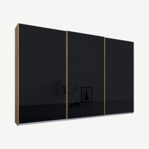 Malix driedeurs kledingkast met schuifdeuren, 270 cm, eiken frame, basaltgrijze glazen deuren, klassiek interieur