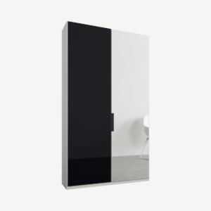 Caren tweedeurs kledingkast met handvatten, 100 cm, wit frame, basaltgrijs glas en spiegeldeuren, standaard interieur