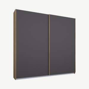 Malix tweedeurs kledingkast met schuifdeuren, 181 cm, eiken frame, mat grafietgrijze deuren, standaard interieur