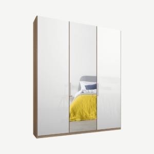 Caren driedeurs kledingkast met handvatten, 150 cm, eiken frame, wit glas en spiegeldeuren, klassiek interieur