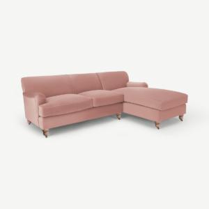 Orson hoekbank met hoek rechts, vintage roze fluweel